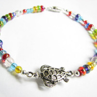 Candy Colored Sea Turtle Anklet, Beach Jewelry, Summer Jewelry, Ankle Bracelet