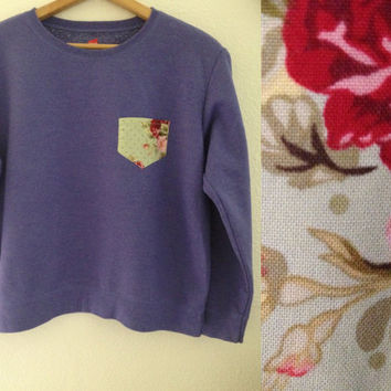 Floral Pocket Crewneck by FauxFashions on Etsy