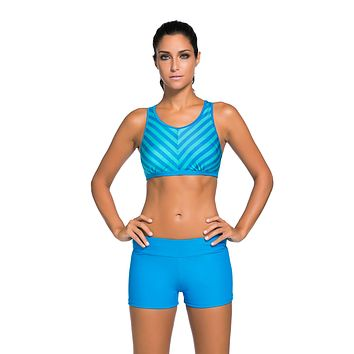 Blue Stripe Patten Sport Bra Swim Trunk 2pcs Swimsuit