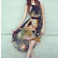 Womens Galaxy Print A line Spring Galaxy Dress P28Q3216