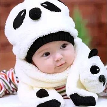 Baby Hat Caps Warm Hats For Children Girls Boys Cartoon Panda Baby Boy Hat For Girl Wool Cap Kids Baby Hat and Scarf Winter Set