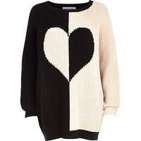 River Island Womens Black color block heart sweater dress