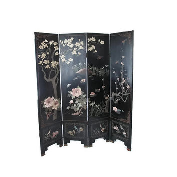 Four Fold Coromandel Screen/Oriental Dressing Screen/Ebonized Folding Room Divider /Carved Painted Chinese Screen/ Tianjin China Screen