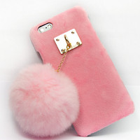 Furry Rabbit Tail creative case Cover for iPhone 5s 6 6s Plus Gift-152