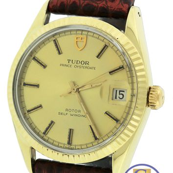 Vintage Tudor Prince Oysterdate 33mm 14K Gold Shell Stainless 90715 Watch