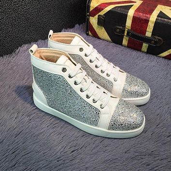 Sale Christian Louboutin CL Louis Strass Bling Blin White Grey Men's Women Flat Shoes Boots