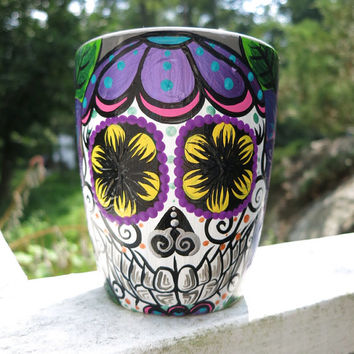 Hand painted sugar skull and dahlia mug