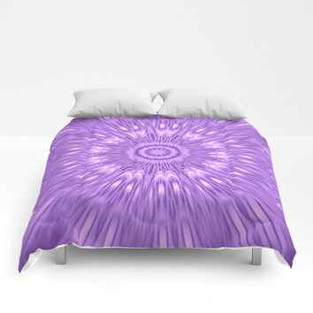 Lavender Purple Mandala Explosion Comforters by 2sweet4words Designs