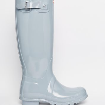 Hunter Original Porcelain Blue Tall Gloss Wellington Boots