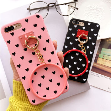 Newest Fashion Black White Polka Dot Stripe Phone casefor iPhone 6 case 7plus Wave point Kawai Girl Lovely Case for iPhone 7case -0329