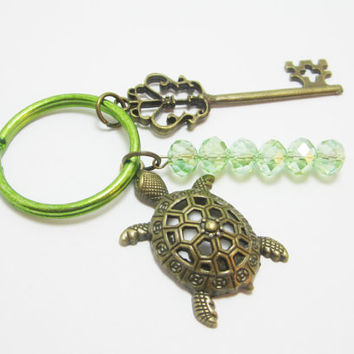 Bronze Sea Turtle and Key Keychain Large Filigree Light Green AB Rondelles