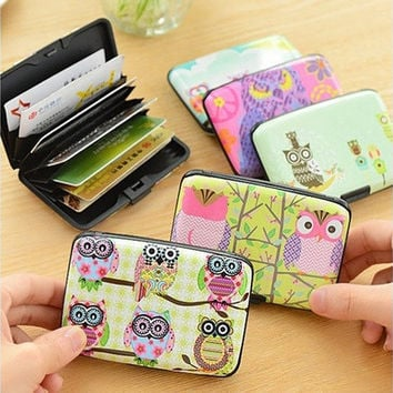 1 X Unisex Women Men Baby Cute Cartoon Plastic Bank Credit Card Bag Lovely Fashion Owl ID Card Holder Bags