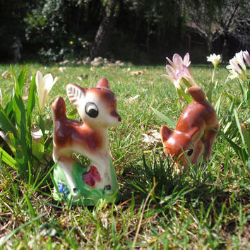salt and pepper shakers, vintage collectible disney bambi figurines