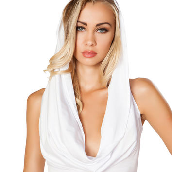 White Hooded Cowl Neck Crop Top