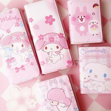 Japan Cartoon Hello Kitty My Melody Cinnamoroll Dog Little Twin Star Kanahei Rabbit Women Wallet Girls Purse Children Wallets