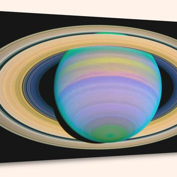 """Saturn's Rings in Ultraviolet Light  (10"""" x 24"""") - Canvas Wrap Print"""