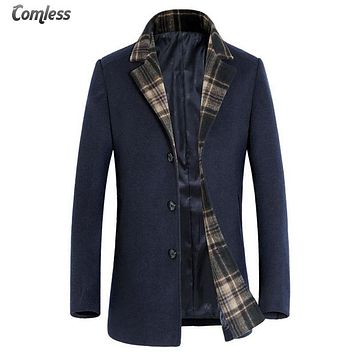 Winter Men Wool Trench Coat Men Fashion Design Collar Long Trench Slim Fit Overcoat High-quality Men's Coats Jackets Outerwear