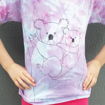 Girls Koala Shirt- Koala Bear- Animal Shirt- Hippie Kids Clothes- Koala Gift- Tie Dye Girls shirt ages 7-9