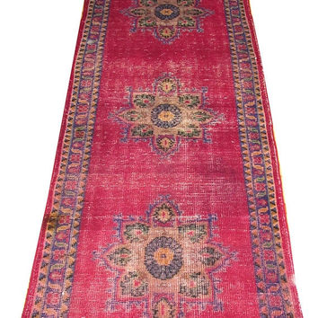 Sale Medallion Design Turkish Vintage Runner Rug 10'2'' x 2'11''  Free Shipping