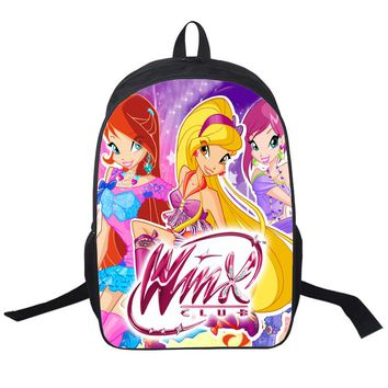 Winx Club Butterfly Princess School Bags Satchel Mochila 3D Cartoon Orthopedic Children Backpack For Girls Teenagers