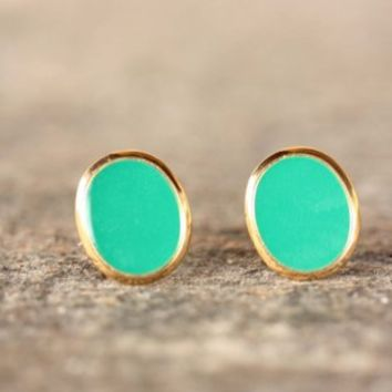 Supermarket - Bright Green Oval Studs from Diament Jewelry