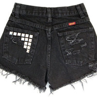 Studded Shorts Vintage Distressed High Waisted Black Cutoff Shorts