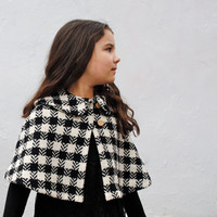 Wool Cape - Black and White Winter Kids Fashion - Girls Capelet Jacket with Peter Pan Collar in Vintage Wool - Toddler Size 1T to 3T