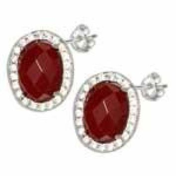 Sterling Silver Oval Red Carnelian Earrings with Micro Pave Cubic Zirconia Halo