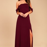 J.O.A. Veronique Burgundy Off-the-Shoulder Maxi Dress
