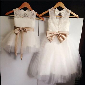 2017 New Real Flower Girl Dresses for Wedding Little Girls Kids/Children Dress Lace Tulle Keyhole Party Pageant Communion Dress