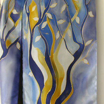 TREE of Life, Silk Scarf, New Zealand, Handpainted, Geometric, blue scarf, gold scarf, Long scarf,  stripes, nature, modern, Tree scarf