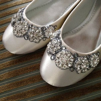 Crystal Garland Bridal Ballet Flats  Any size by BeholdenBridal