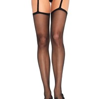 Sheer stockings with attached lace garterbelt in BLACK