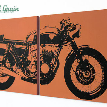 Wall Art Cafe Racer Motorcycle - Vintage Motorcycle Print in Custom Colors