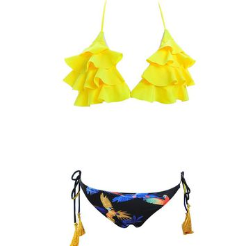 Women Froal Swimwear Sexy Bikini Set Padded Bra Brazilian Swimsuit Beach Suite Biquini Maillot De Bain