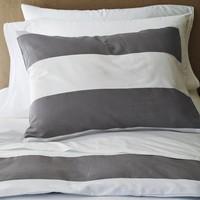 Stripe Duvet Cover + Shams- White/Feather Gray