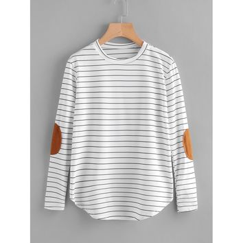 Elbow Patch Striped T-shirt White and Black
