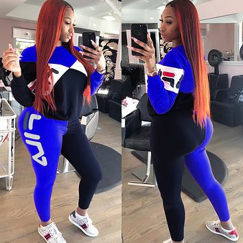 FILA Popular Women Casual Print Top Pants Trousers Set Two-Piece Sportswear Blue