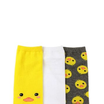 Baby Chick Graphic Ankle Socks - 3 pack