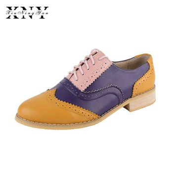 XIUNINGYAN Vintage British Style Oxford Shoes For women Genuine leather flat shoes women US size13 handmade Black leather Shoes