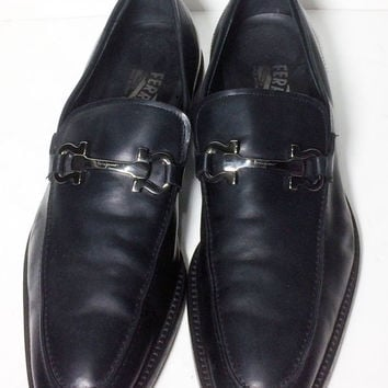SALVATORE FERRAGAMO Black Penny Loafers Men's Shoes Size 10