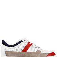 DIOR HOMME - PERFORATED LEATHER AND SUEDE SNEAKERS - LUISAVIAROMA - LUXURY SHOPPING WORLDWIDE SHIPPING - FLORENCE