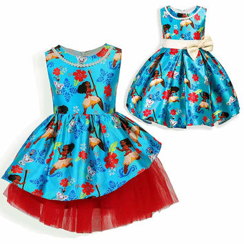 2017 christmas Girls Dresses Cartoon bow Moana party Cosplay Dress Fancy Princess Dress Children Clothing Kids costume For Girls