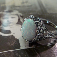 Art Nouveau design Sterling Opal Ring Size 6 1/2