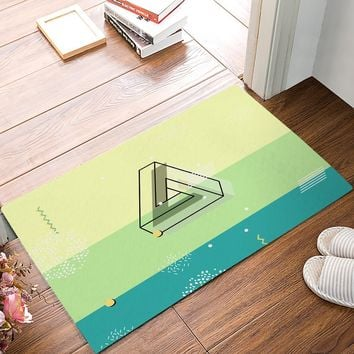 Autumn Fall welcome door mat doormat Modern Penrose Triangle Stripe Dot Waves Green And Yellow s Kitchen Floor Bath Entrance Rug Mat Absorbent Indoor AT_76_7