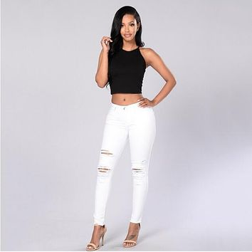 Summer style white hole ripped jeans Women jeggings cool denim high waist pants capris Female skinny black casual jeans 2017 new