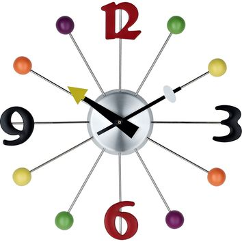 Juggler Wall Clock Silver Black Red Green Yellow Orange Purple