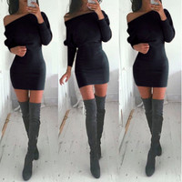 Super Sexy Black Body Con Tunic Off the Shoulder Mini Dress