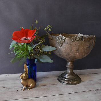 Pedestal Bowl/ Alda's Metal Bowl/ Planter/ Decorative Bowl/ Shabby Chic/ Metal Pedestal Bowl/ Rustic Kitchen/ Christmas Gift/ Brass Bowl
