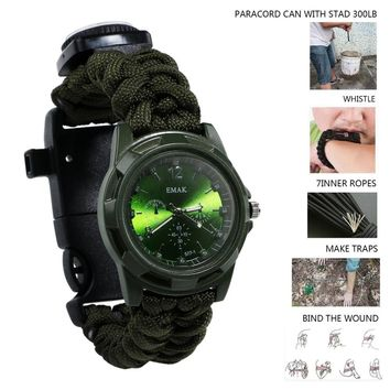 Outdoor Camping Multi Tool watch survival watch Compass Thermometer Rescue Rope Paracord Bracelet Equipment Tools kits Parachute